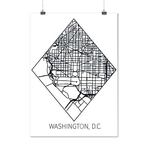 Washington Karte Mode Groß Stadt Karte Mattes/Glänzende Plakat A3 (42cm x 30cm) | Wellcoda