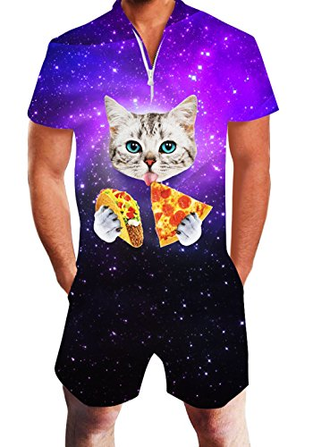 Summer Short Pants 3d Beach Holiday Mens Short Pants Cargo Overalls Cat Eating Tacos Pizza Shirts Galaxy Space High Resilience Men's Clothing