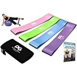 Resistance Loop Bands - Set of 4 Performance Elastic Bands for Workout or Physical Therapy - Free Ebook & Online Video Guide - Pilates, Yoga, Rehab, Improve Mobility and Strength - Life Time Warranty