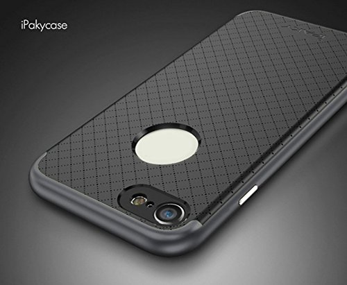 Case Creation Hybrid BackCase for iPhone 7 Plus,Premium iPaky Dot Silicon TPU+PC Frame Bumper Cover for Apple iPhone 7 Plus -Black