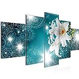 Bilder Blumen Lilien Wandbild 200 x 100 cm Vlies - Leinwand Bild XXL Format Wandbilder Wohnzimmer Wohnung Deko Kunstdrucke Türkis 5 Teilig -100% MADE IN GERMANY - Fertig zum Aufhängen 211451a