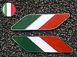 tuning kit coppia placche flag bandiera italia con adesivo 2 pezzi smaltato a mano