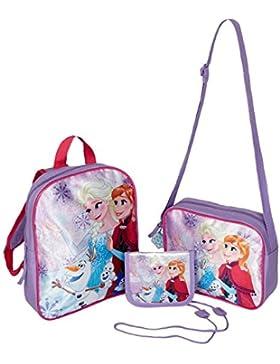 Disney El reino del hielo Chicas Conjunto de: Mojila, Bolso bandolera, monedero y llavero incluso - púrpura