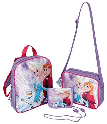 Disney Frozen - Il regno di ghiaccio Ragazze Set 3 pezzi: Zaino + borsa a tracolla, marsupio e porta chiavi incluso - viola -