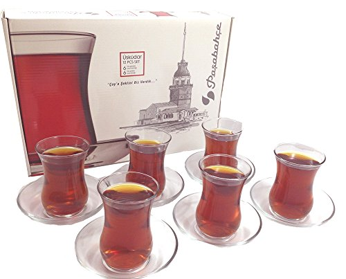 Pasabahce Uskudar Service Tasses tasse à thé avec assiettes, Verre, Transparent, 12 Pièces (6 Tasses + 6 Assiettes)