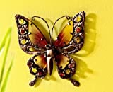 Unbekannt XXL Wanddeko Schmetterling 25 cm aus Metall Glas Dekoration Garten Fassade