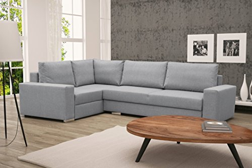 Furnistad - Ecksofa LUCY Mit Schlaffunktion Und Bettkasten (Hellgrau, Option links)