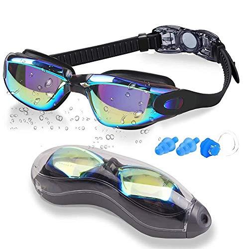 Feewerain Swimmings Erwachsener, kein Undichte Anti-Fog UV-Schutz Wasserdicht Schwimmt für Männer weichen Silikon-Nasen-Brücke Schwimmbrillen für Frauen Jugend mit 1 Nose Clips und 2-Ohr-Steckern