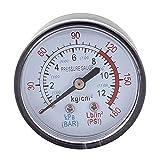 sourcingmap® Rotondo 0-180 psi 13mm 1/4BSP Diametro Del Filetto Quandro Aria Manometro