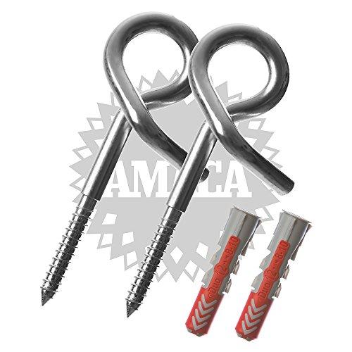 AMACA Sicherheits-Schaukelhaken 12,0 x 160 mm mit Fischer Dübel, zwei Stück (Beton Dübel)