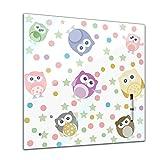 Memoboard 40 x 40 cm, Kindermotiv - Eulen - Memotafel Pinnwand - Mädchen & Jungen - Dekoration - Kinderzimmer - Cartoon - Kinderbild - Eule - lustige Eule - Kindermotiv -