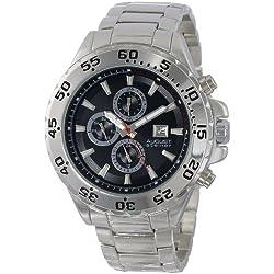 August Steiner Herren AS8071SSB Swiss Multi-Function Black Dial Silver-Tone Bracelet Armbanduhr