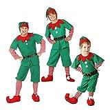 LSERVER Traje de Navidad para Fiesta en casa Ropa de Elfo Navidad Costume Navideño para Toda la Familia, Hombre/Niño, 90cm