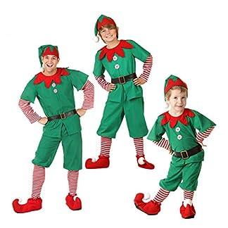 LSERVER Disfraz de Navidad Conjunto de Cosplay Duende Elfo Navidad Traje Navideño para Adultos y Niños Familia