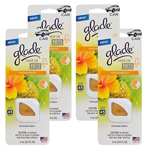 Preisvergleich Produktbild Glade Vent Oil Car AC and Home Air Freshener, Eliminate Odors, Hawaiian Breeze Scent (Pack of 4) by Glade