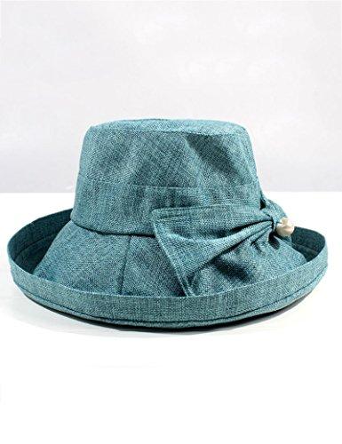 Été féminin Chapeau d'été Boucle en bois Pliable chapeau de soleil Anti-UV Grandes corniches Crème solaire chapeau de soleil ( couleur : 10 ) 3
