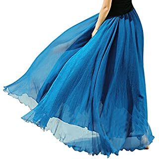 Minetom Frauen Sommer Langen Rock Chiffon Bohemian-Stil Strandkleid ( Blau )