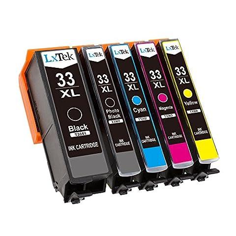 LxTek Compatible Cartouches d'encre Epson 33 XL ( 1 Noir, 1 Photo Noir, 1 Cyan, 1 Magenta, 1 Jaune ) Remplacement pour Epson Expression Premium XP-530 XP-540 XP-630 XP-635 XP-640 XP-645 XP-830 XP-900