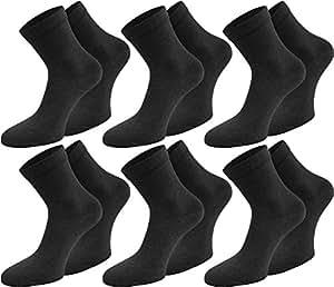 6 Paar Gesundheitssocken für Damen und Herren feingestrickt mit kurzem Schaft Farbe Schwarz Größe 35/38