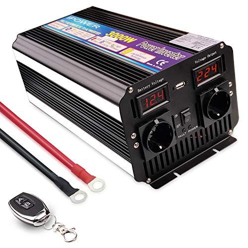 Yinleader Convertisseur 12v 220v 3000W/6000W Onde sinusoïdale modifiée onduleur USB LED (avec...