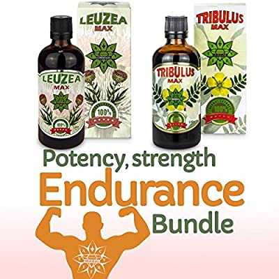 Tribulus & Leuzea Bundle - Potency, Strength and Endurance; Bulgarian Tribulus; Muscle Fuel Anabolic Lean Muscle & Mass & Strength Gain - Suitable for Vegetarians & Vegans from Cvetita Herbal LTD