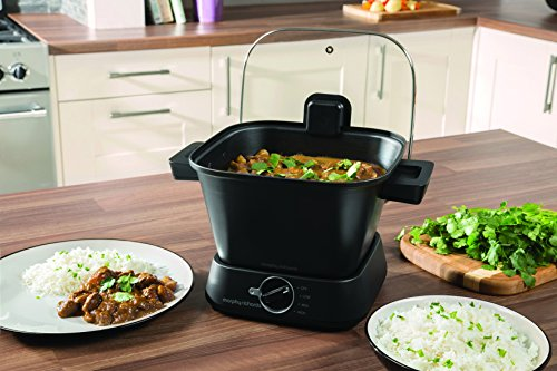 Morphy Richards Sear and Stew Compact 180W 4.5L Negro - Cocción Lenta (180 W, Giratorio, Negro, 235 mm, 310 mm, 165 mm)