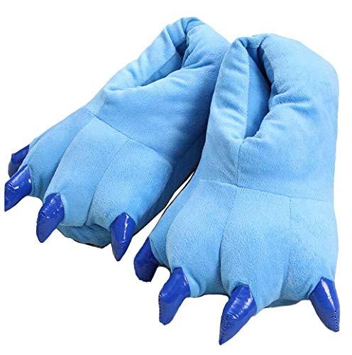 zteng Unisex Winter-Hausschuhe mit Pfotenabdruckmotiv, weiches Plüsch, Hausschuhe, Blau - blau - Größe: Einheitsgröße