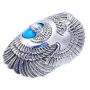 FORFOX Herren Damen Vintage 925 Sterling Silber Adler Ring mit Türkis Größe 57-65