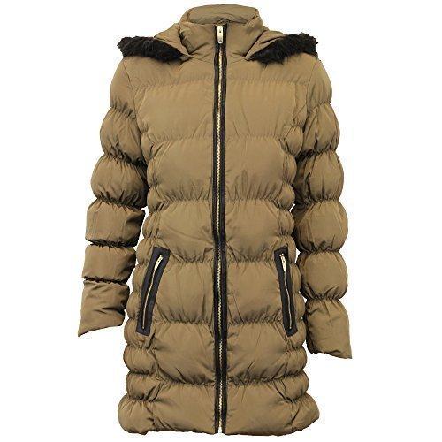 Damen Parkajacke Brave Soul Damen-mantel Gepolstert Kapuze Gepolstert Pelzfutter Winter - Olivgrün - LINDSAY, 42