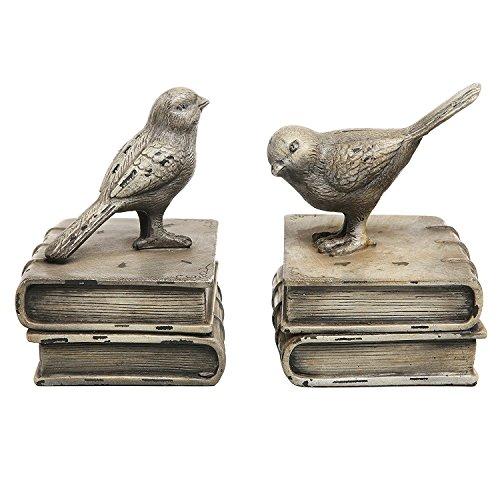 Vintage Style Deko-Vögel & Bücher Design Keramik Bücherregal Buchstützen/Papier Gewichte-MyGift Home (Keramik-gewichte)