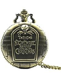 Reloj de bolsillo de la pesadilla antes de Navidad Vintage envejecido colgante forma redonda