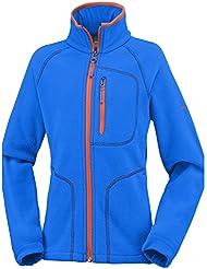Columbia Fast Trek II–Forro polar para hombre con cremallera completa, Niños, color Super Blue/Tangy Orange, tamaño XL