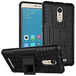 Kaira Hybrid_redminote3_2 Rugged Dual Layer Kickstand Hybrid Warrior Case Back Cover For Xiaomi Redmi Note 3 (Black)