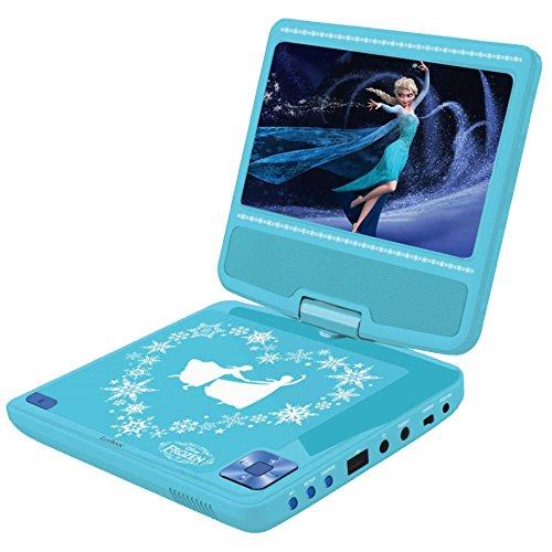 Lexibook Lecteur DVD Portable Disney, Reine des neiges, secteur ou piles, prise écouteurs, entrée line-in, bleu ciel