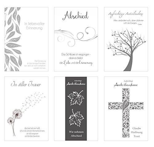 Edition Seidel Set 6 einfühlsame Premium-Trauerkarten mit Silber-Prägung/Beileidskarten mit Umschlag. Trauerkarte Beileidskarte mit Spruch schreiben