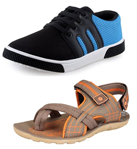 Tempo Men's Combo of Blue Sneaker Shoes & Sandal-6