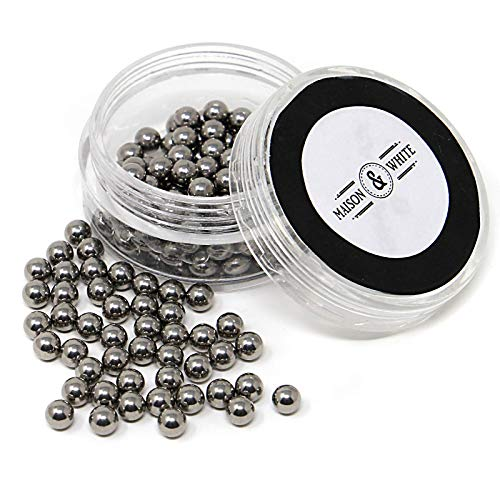 Maison & White Magic Reinigungskugeln   Wiederverwendbarer Edelstahl - Kugelsatz zur Reinigung von Glaswaren Flaschenreinigungs - Perlen für Dekanter, Vasen und Glaswaren (Perlen Vasen Für Glas)