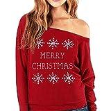 Fröhliche Weihnachten! SHOBDW Damen Winter Mode Elegant Schneeflocke Brief Drucken Sweatshirt Frauen Langarm Skew Ausschnitt Dünn Pullover Outwear Sexy Schulterfrei Bluse Shirts Tops