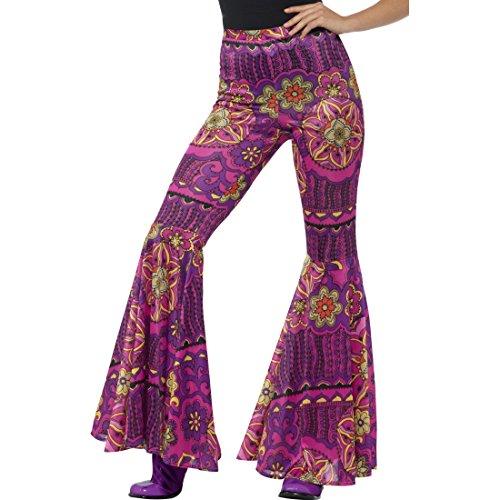 Blumenkind Frauen Kostüm - Amakando Batik Hippiehose Damen - S/M (34 - 40) - Damenhose mit Schlag Bootcut Blumenkind ausgestellte Flower Power Hose 70er Jahre Mode Outfit Schlaghose Blumenprint