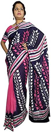 Kheyali Boutique Cotton Saree (Kb-Bt-0013_Dark Blue, Pink)