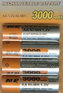 AA Rechargeable Ni-MH Batteries (Card of 4) 1.2v 3000 mAh
