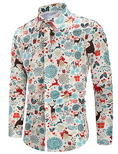 RAISEVERN Diversión Hombre Camisas Manga Larga Botones