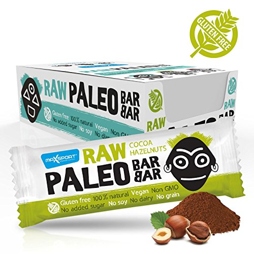 Maxsport Nutrition - Barritas de proteínas crudas para dieta paleo, vegano, sin gluten, 50 g, 20 unidades