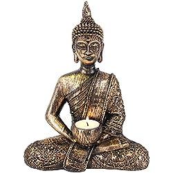 Figura decorativa de Buda resina portavelas para vela de té