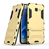 #3: CASSIEY (TM) Tough Military Grade Armor Defender Series Dual Protection Layer Hybrid TPU + PC Kickstand Case Cover for Samsung J7 Max - Gold