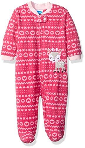BON BEBE Baby Girls' Microfleece Zip Front Coverall, Pink Reindeer, 0-3 Months (Polyester-fleece Trim 100%)
