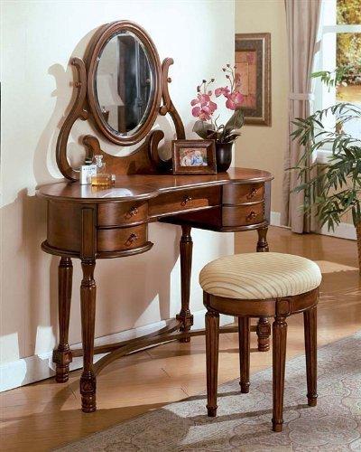3pcs Carrington Walnut Finish Vanity Table with Stool Set by ACME - Vanity Finish