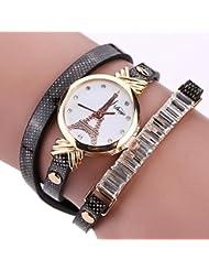 Reloj para mujeres,Vovotrade Rhinestone de imitación de cuero de cuarzo relojes de pulsera analógico (A)