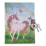 Lucy Locket Diario unicorno magico (set scrittura, carta per lettere, diario segreto con lucchetto e chiavi) Diario glitterato per bambini