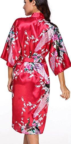 FLYCHEN lange Kimonos für Damen Bademantel aus Satin mit Pfau und Blüten Morgenmantel Robe Rot-2